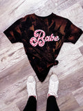 S-3X BABE LEOPARD ACID WASHED TEE