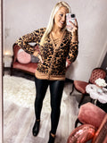 BROWN LEOPARD SWEATER CARDIGAN