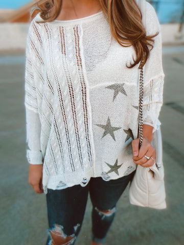 IVORY & OLIVE STAR SWEATER