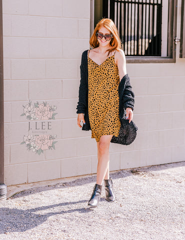 LEOPARD COWL NECK SLIP DRESS