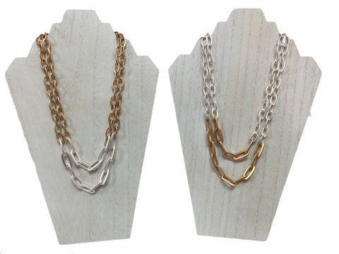 MATTE TWO-TONE CHAIN NECKLACE