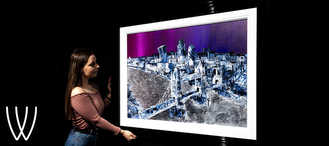 Silver City artwork by Simon Wright - Purple sky with metal accented skyline