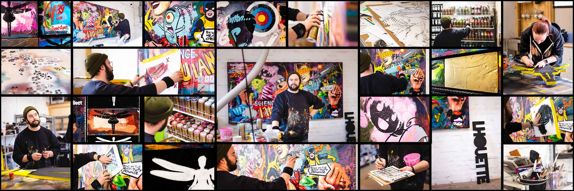 A collage of images from Lhouette's studio of him creating the Swarm Original artwork, along with detail shots of both the Edition and Original works.