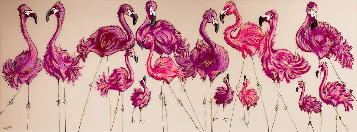 A Flamboyance Of Flamingos - Original Amy Louise