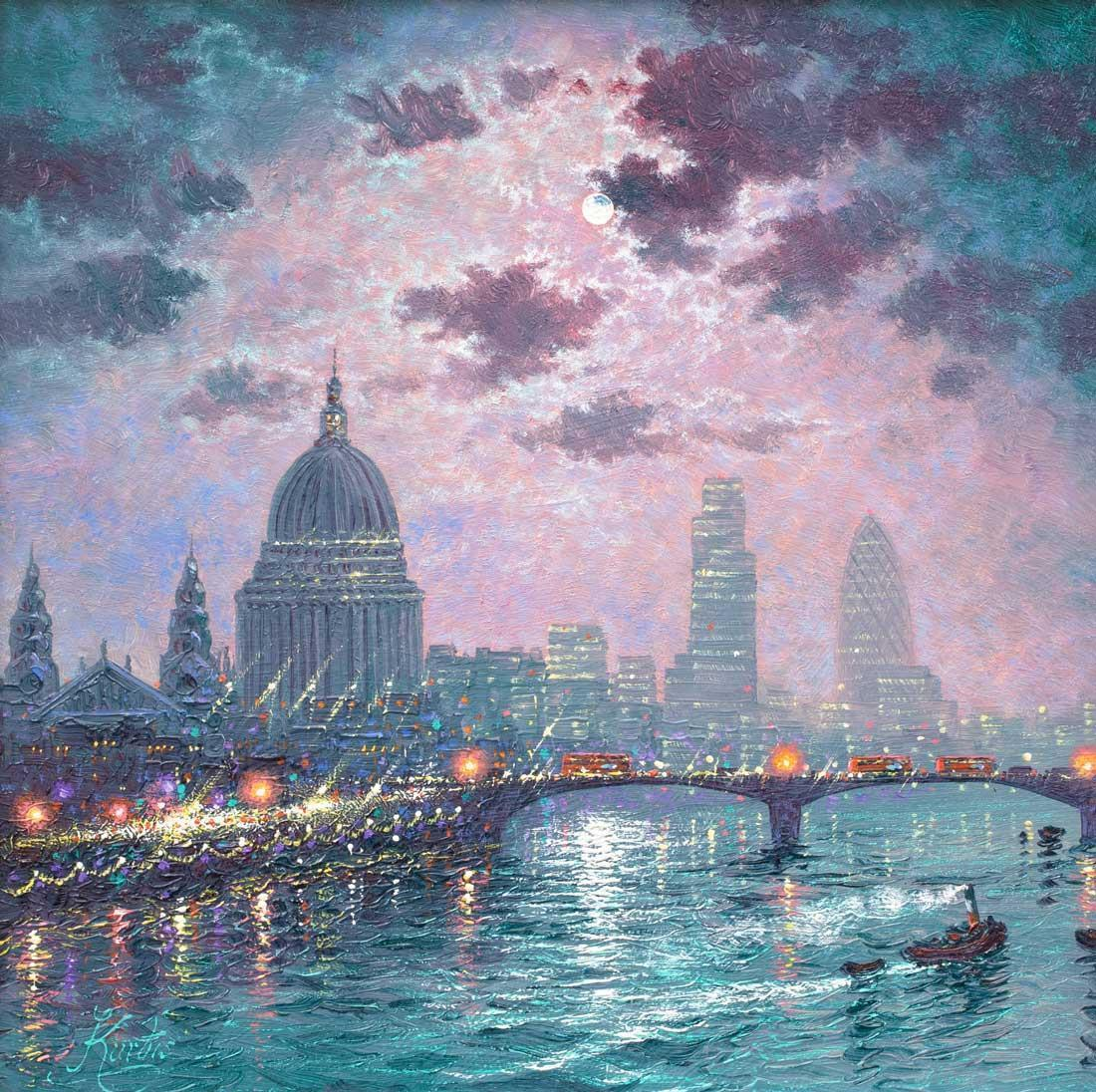 As the Thames Sparkles - Original Andrew Grant Kurtis Framed