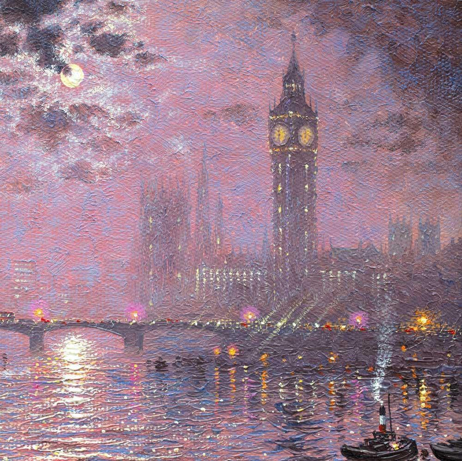 Moonlight Sparkle over Westminster - Original Andrew Grant Kurtis Framed