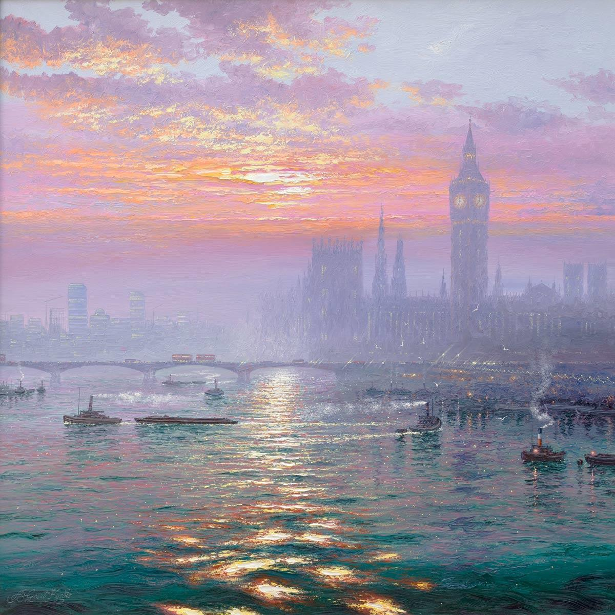 Sunshine Sparkles and Morning Haze over Westminster - Original Andrew Grant Kurtis Framed
