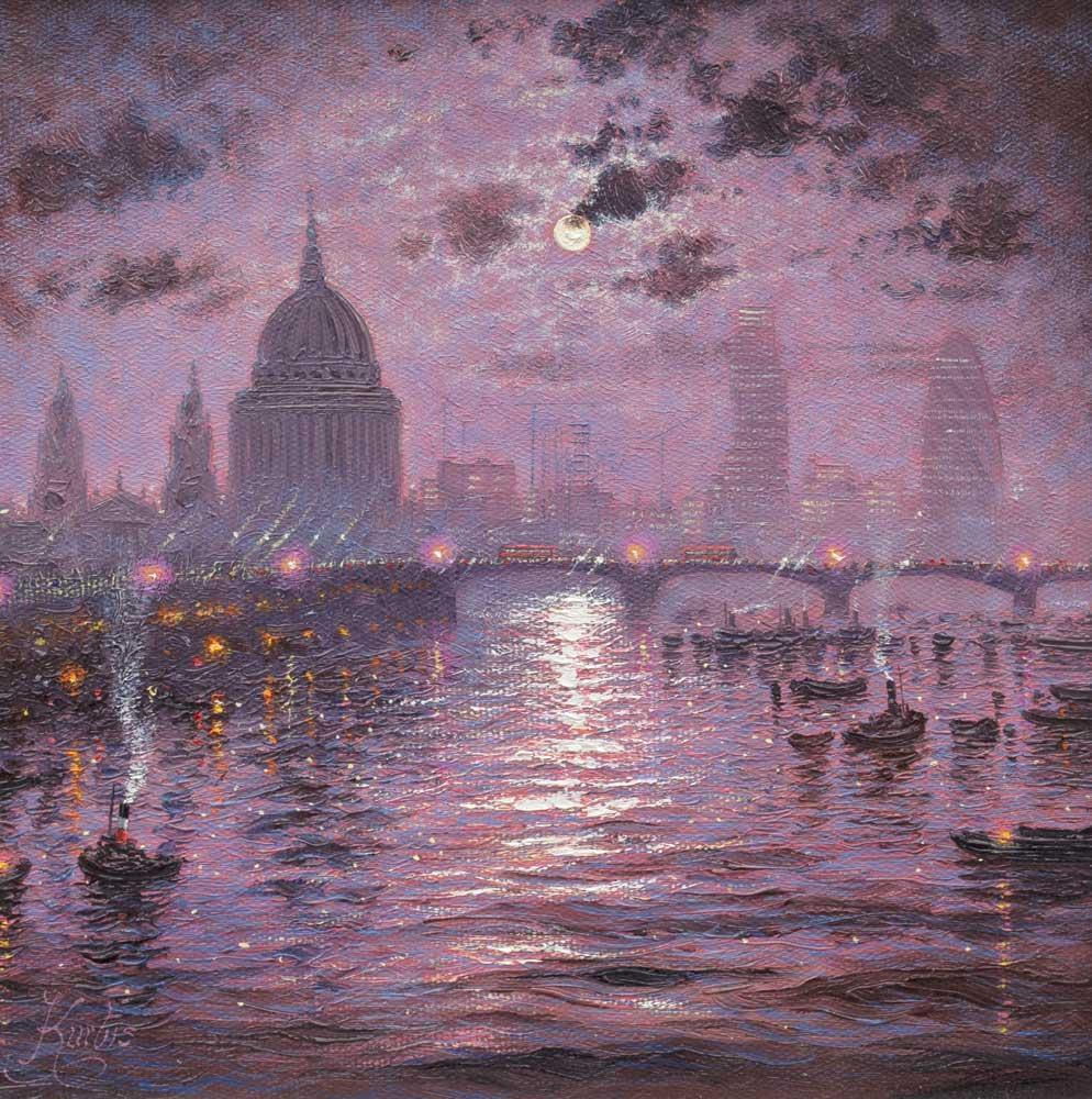 The Thames Sparkles At Night Andrew Grant Kurtis Framed