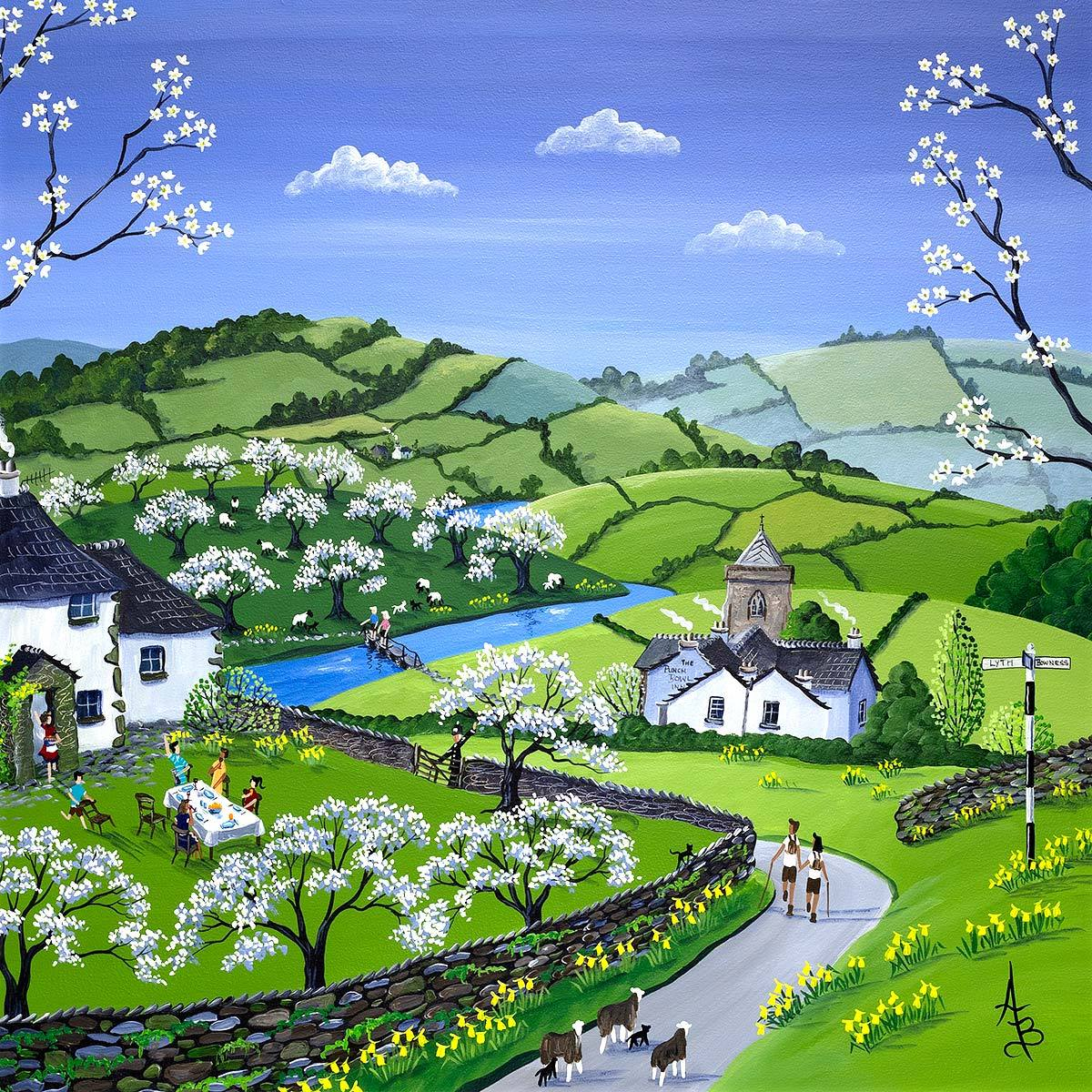 Damson Blossom Lunch, Lyth Valley - Original Anne Blundell Framed