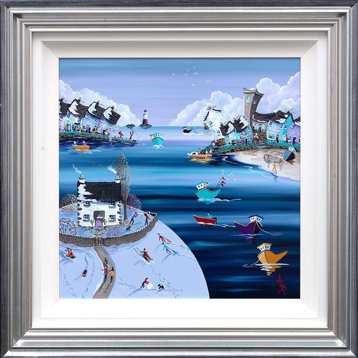 Fun in the snow at Lookout Cottage - Original Anne Blundell Framed