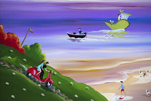 Scooting Down To Sunset Cove - Original Anne Blundell Framed