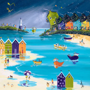 Stormy Skies and Jewel Bright Beach Huts - Original Anne Blundell