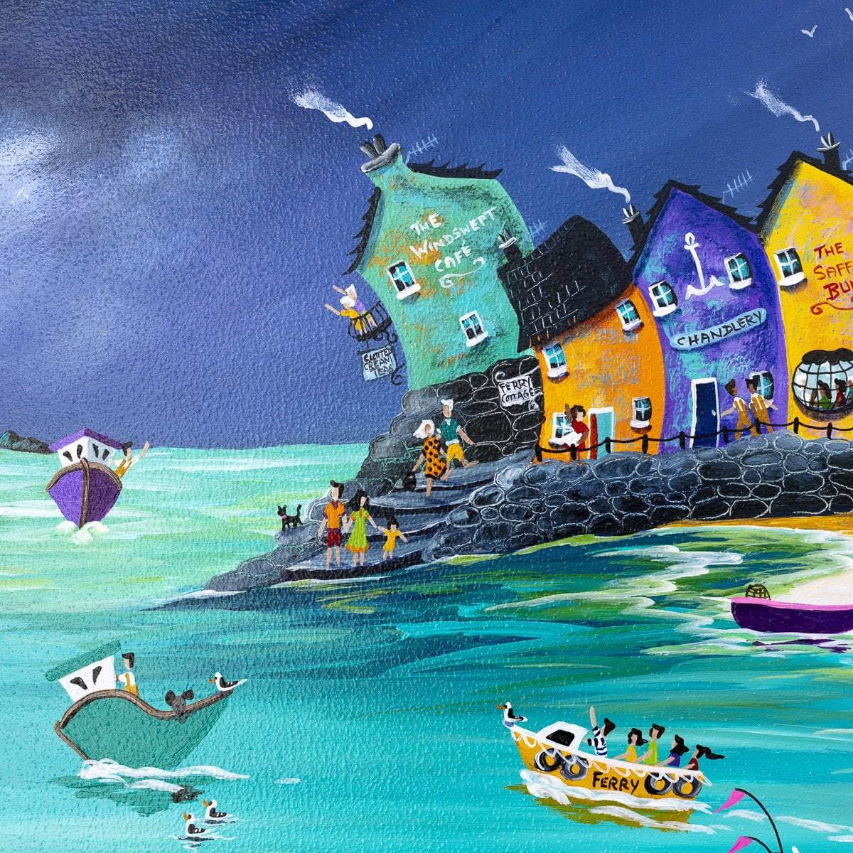 Stormy Skies and Jewelled Beach Huts - Original - SOLD