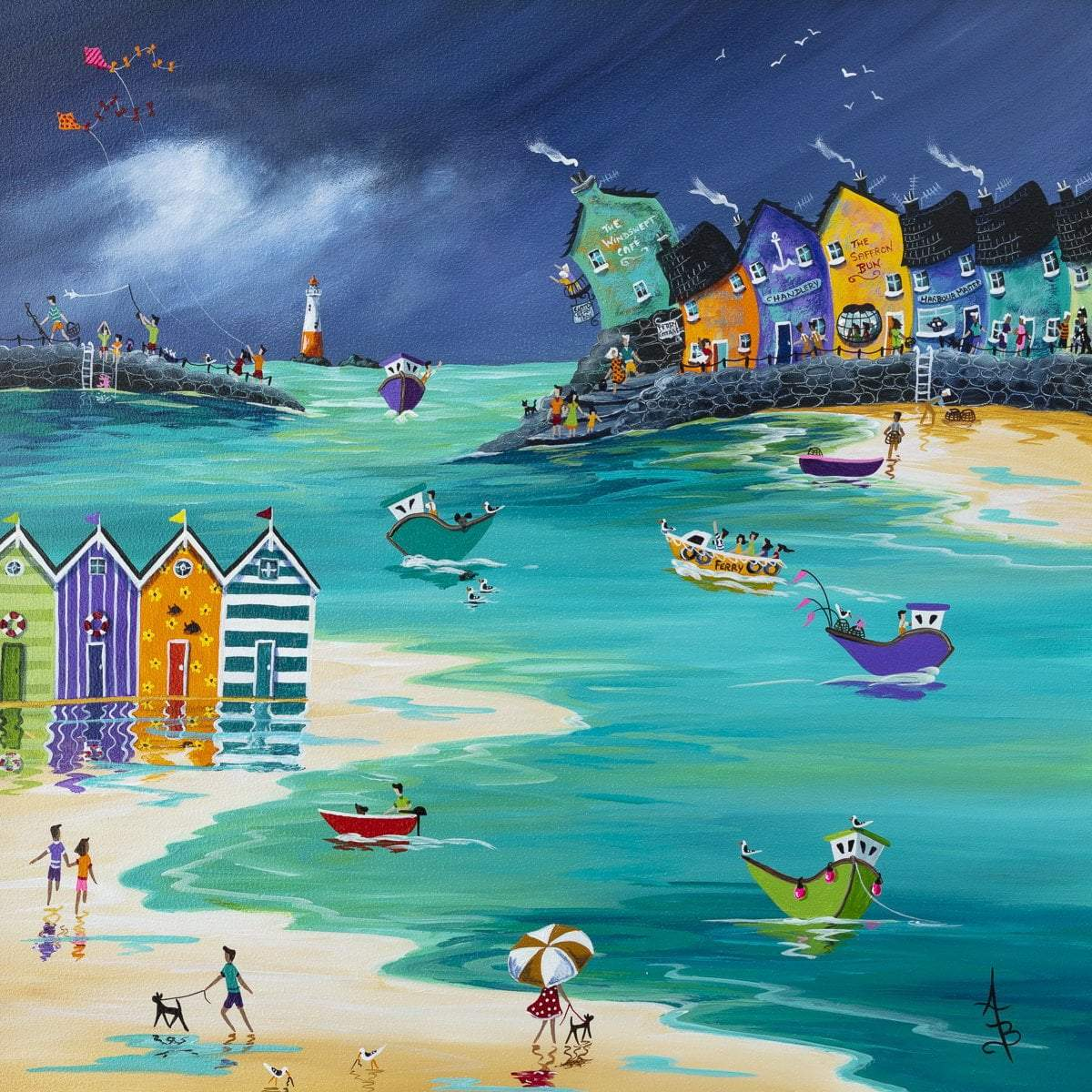 Stormy Skies and Jewelled Beach Huts - Original Anne Blundell Framed