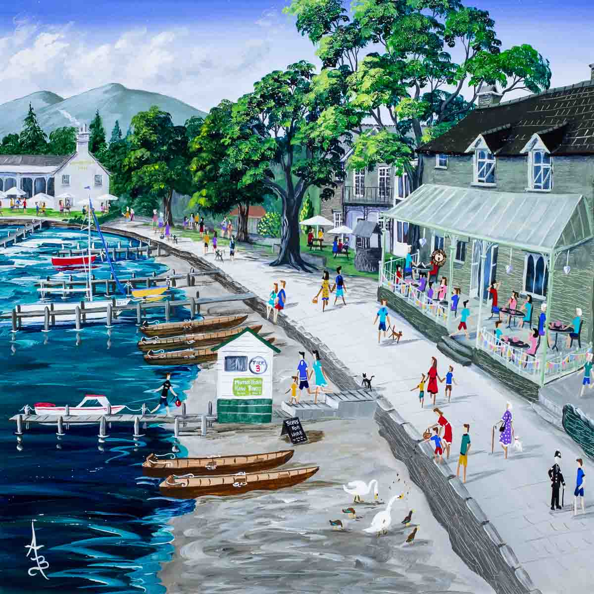 Waterhead Cafe Ambleside Anne Blundell Framed
