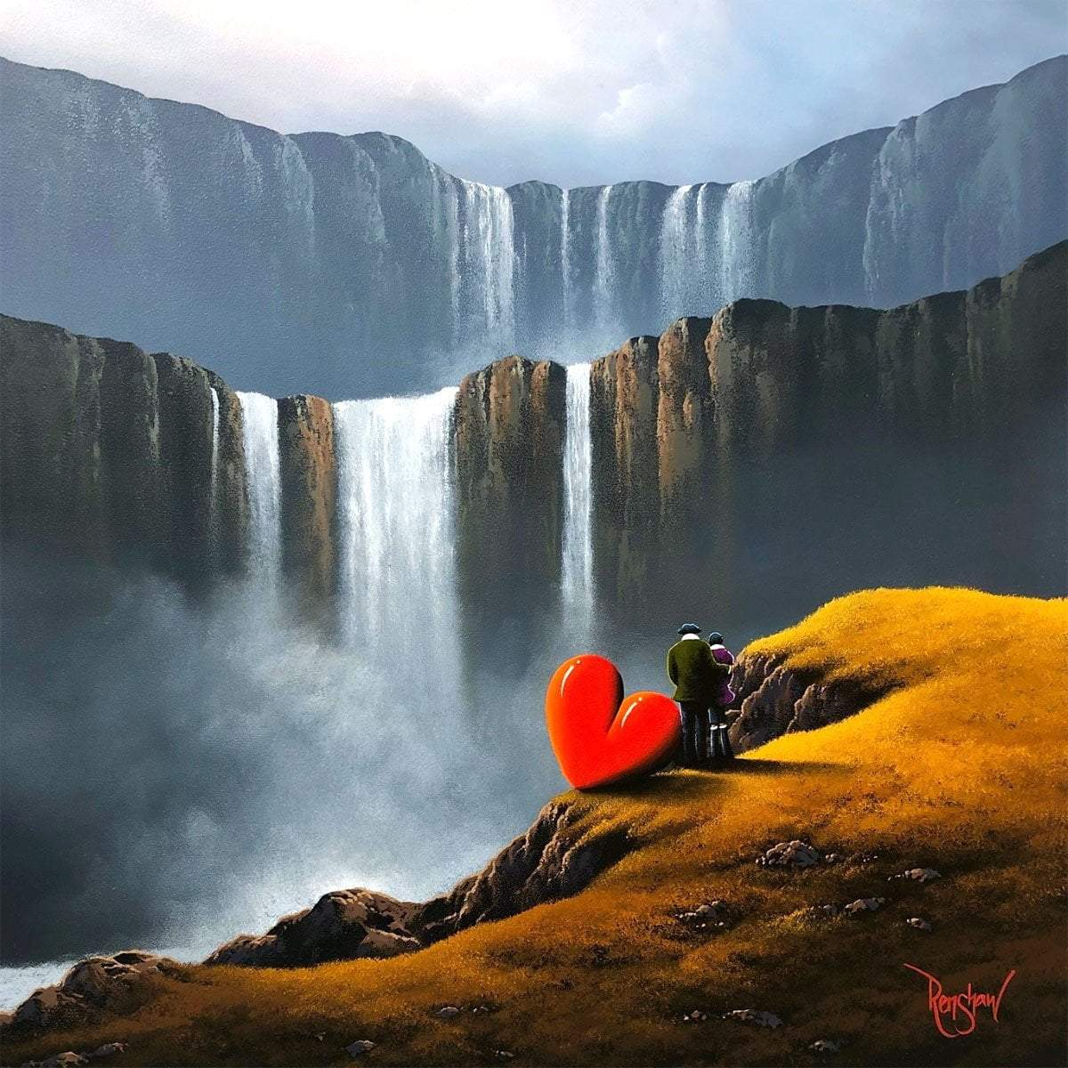 Chasing Waterfalls - Original David Renshaw Framed