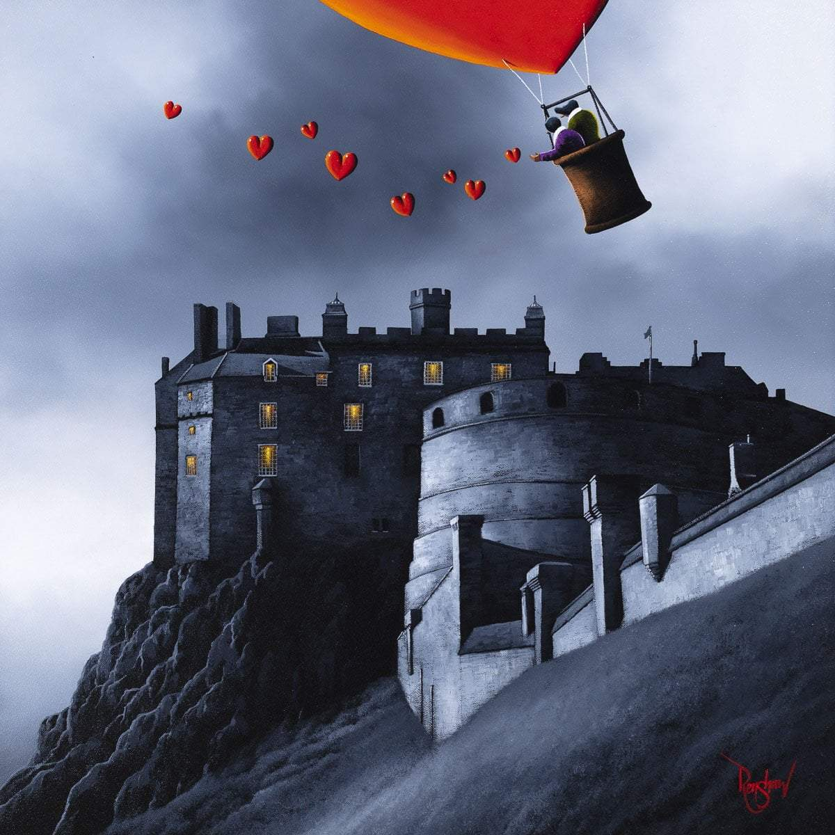 Edinburgh Castle Fly By - Original David Renshaw Framed