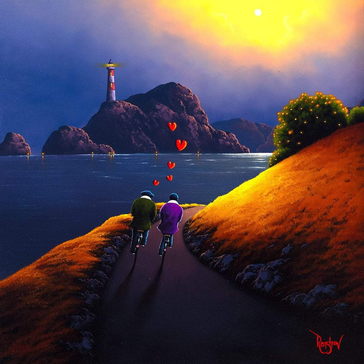 Lighthouse Love - Original David Renshaw Framed