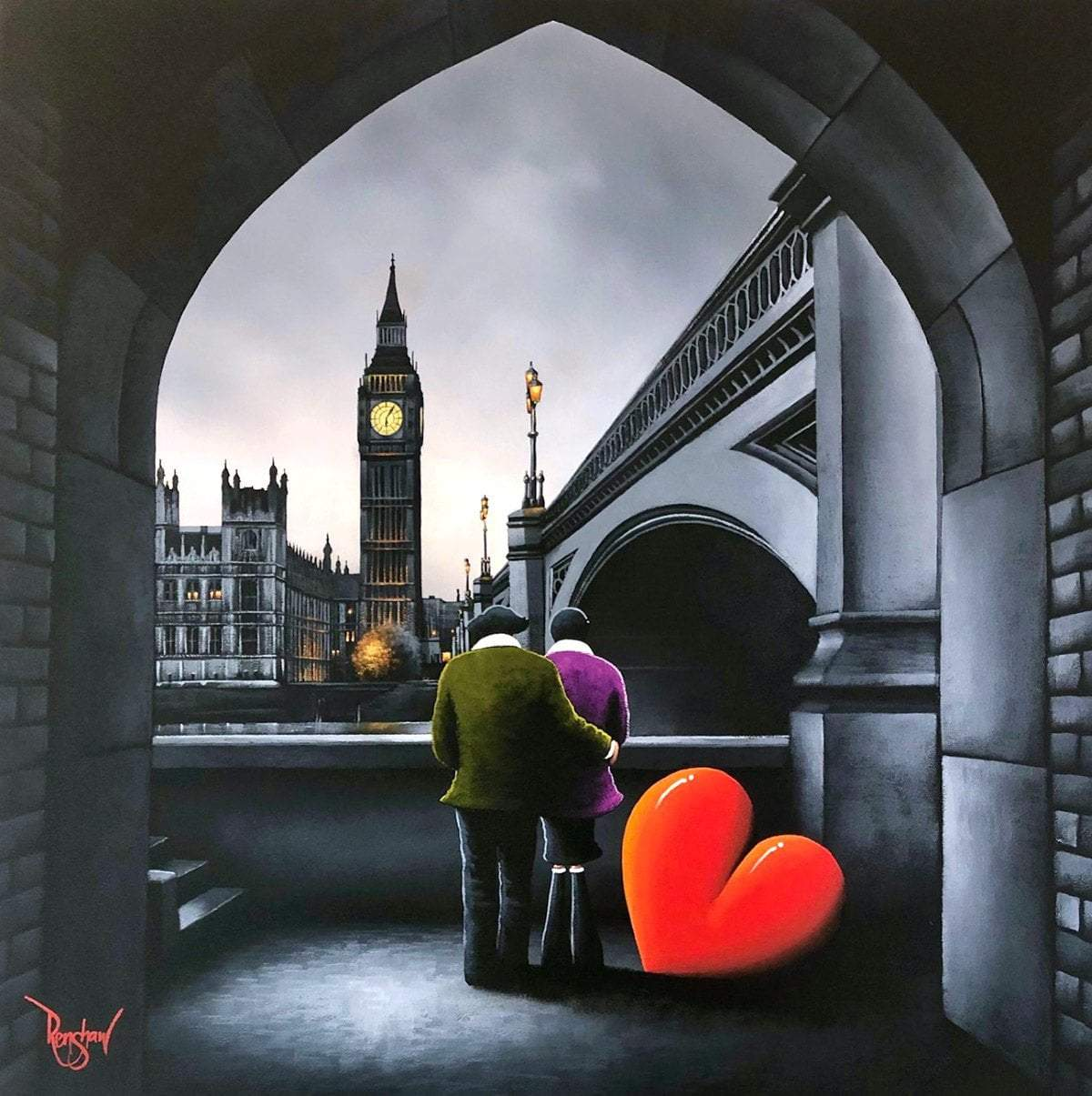 Parliament View - Original David Renshaw Framed