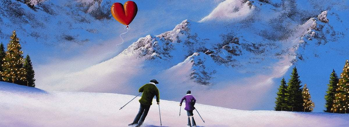 Skiing at Sunset - Original - SOLD
