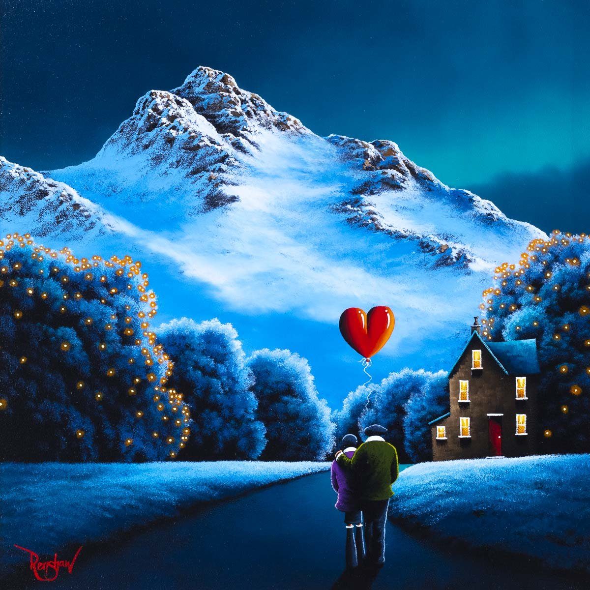 Snow Capped Mountains - Original David Renshaw Framed