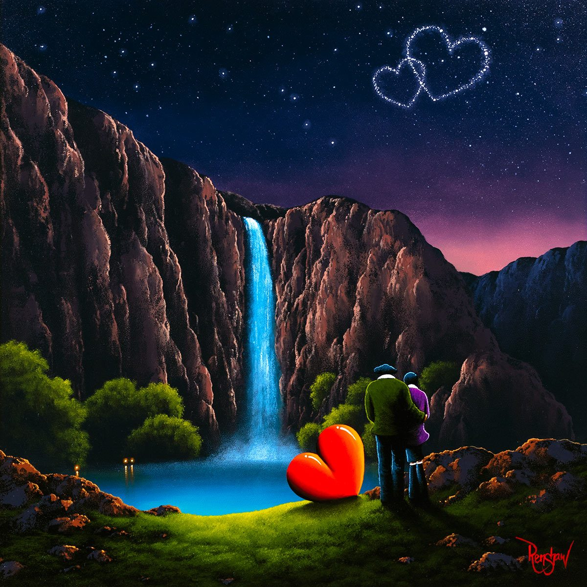 Waterfall Romance - Original David Renshaw Framed
