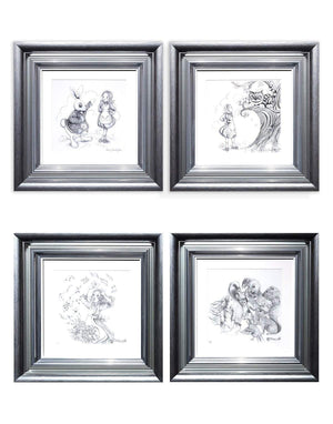 Alice Pencil Sketch Boutique Editions - Final Rare Matching Set of 4 - 2019 & 2020