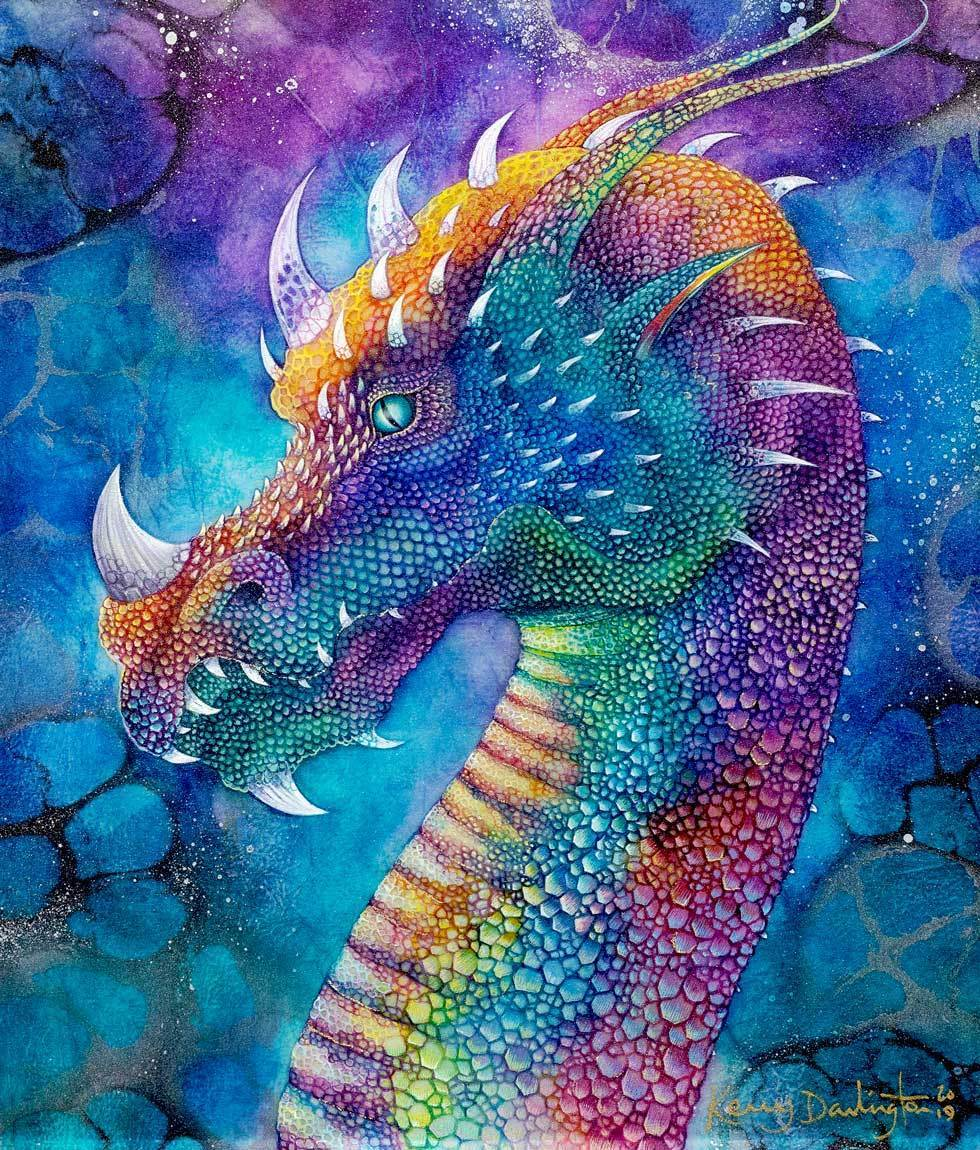 Dragon of Hidden Treasures - Original - SOLD Kerry Darlington Framed