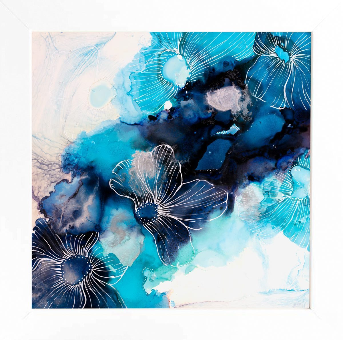 Water Petals Blue Laura Beck Framed