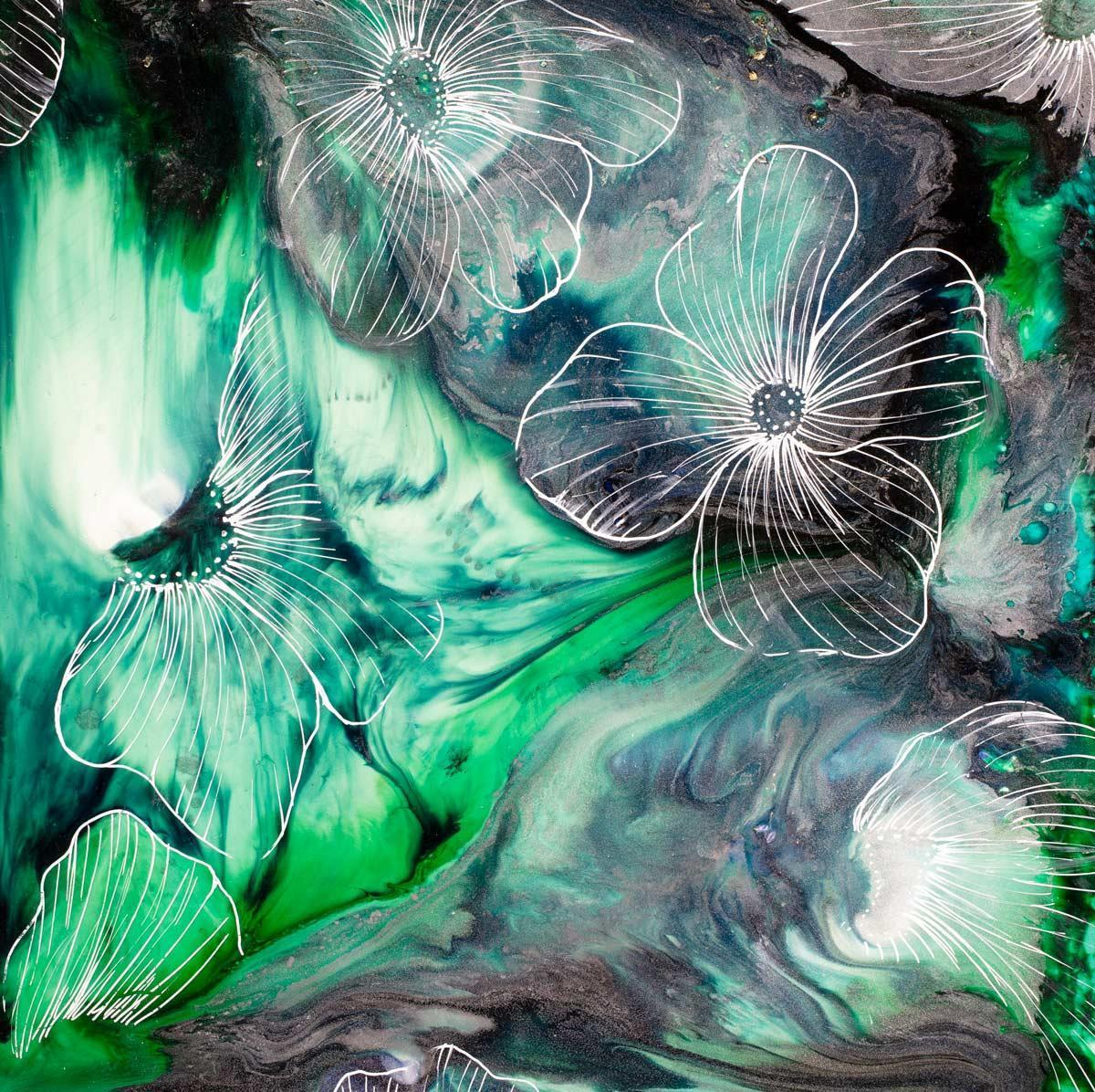 Water Petals Green Laura Beck Framed