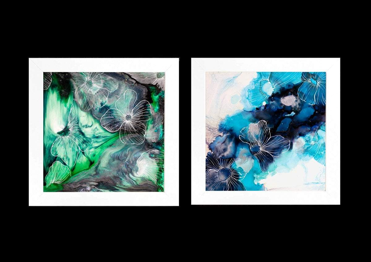 Water Petals Green - Original Laura Beck Framed