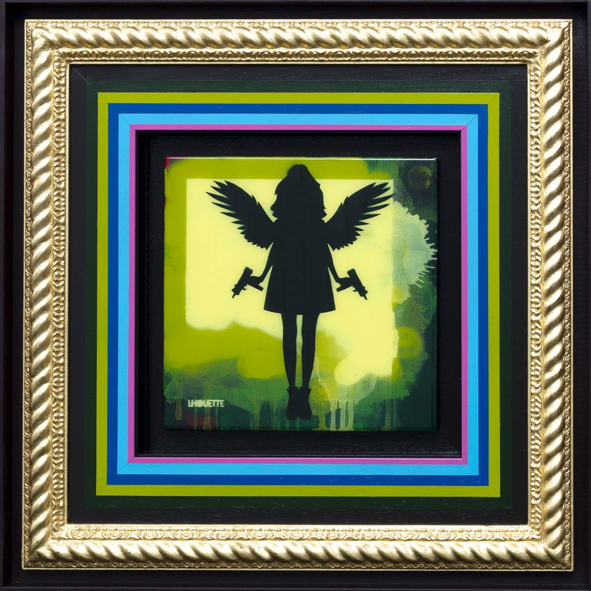 Angel Cake Mixer - Green Original Lhouette Framed