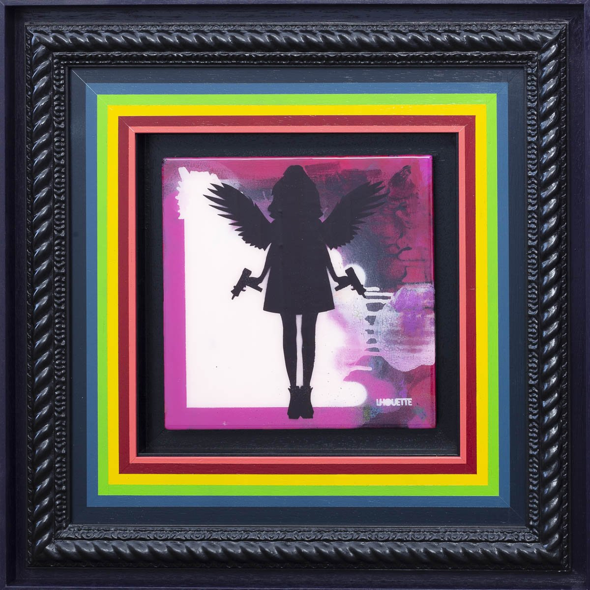 Angel Cake Mixer - Pink Original Lhouette Framed