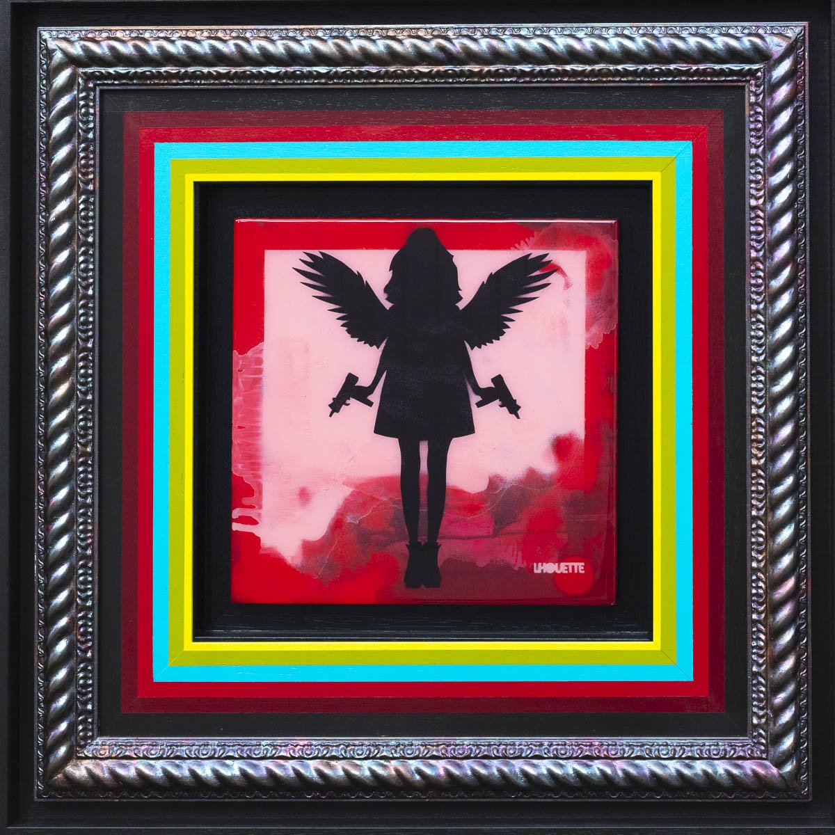 Angel Cake Mixer - Red Original Lhouette Framed