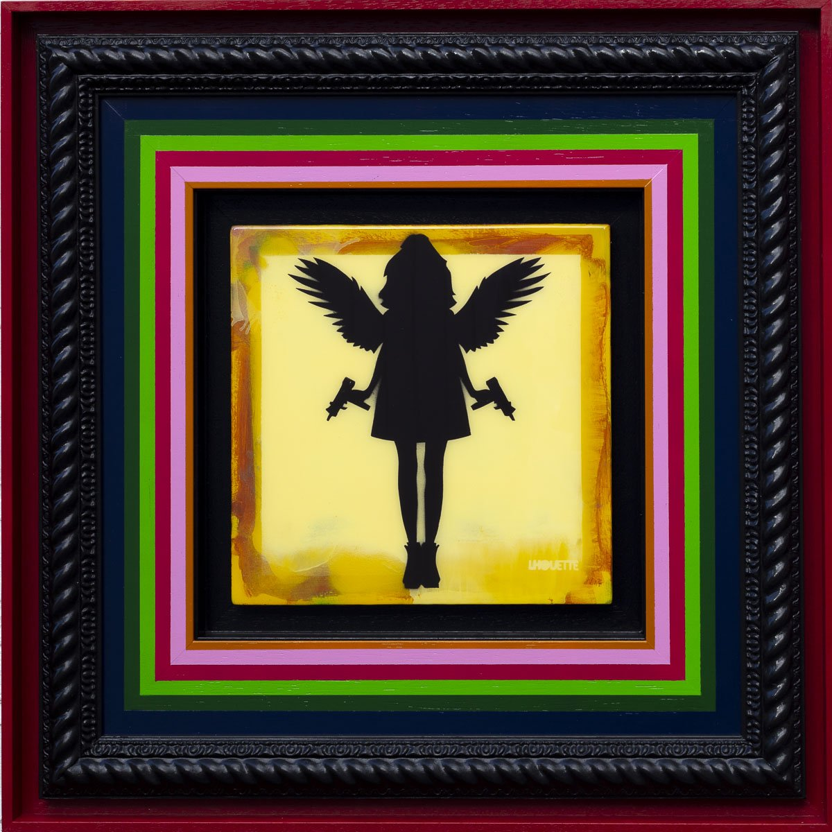 Angel Cake Mixer - Yellow Original Lhouette Framed