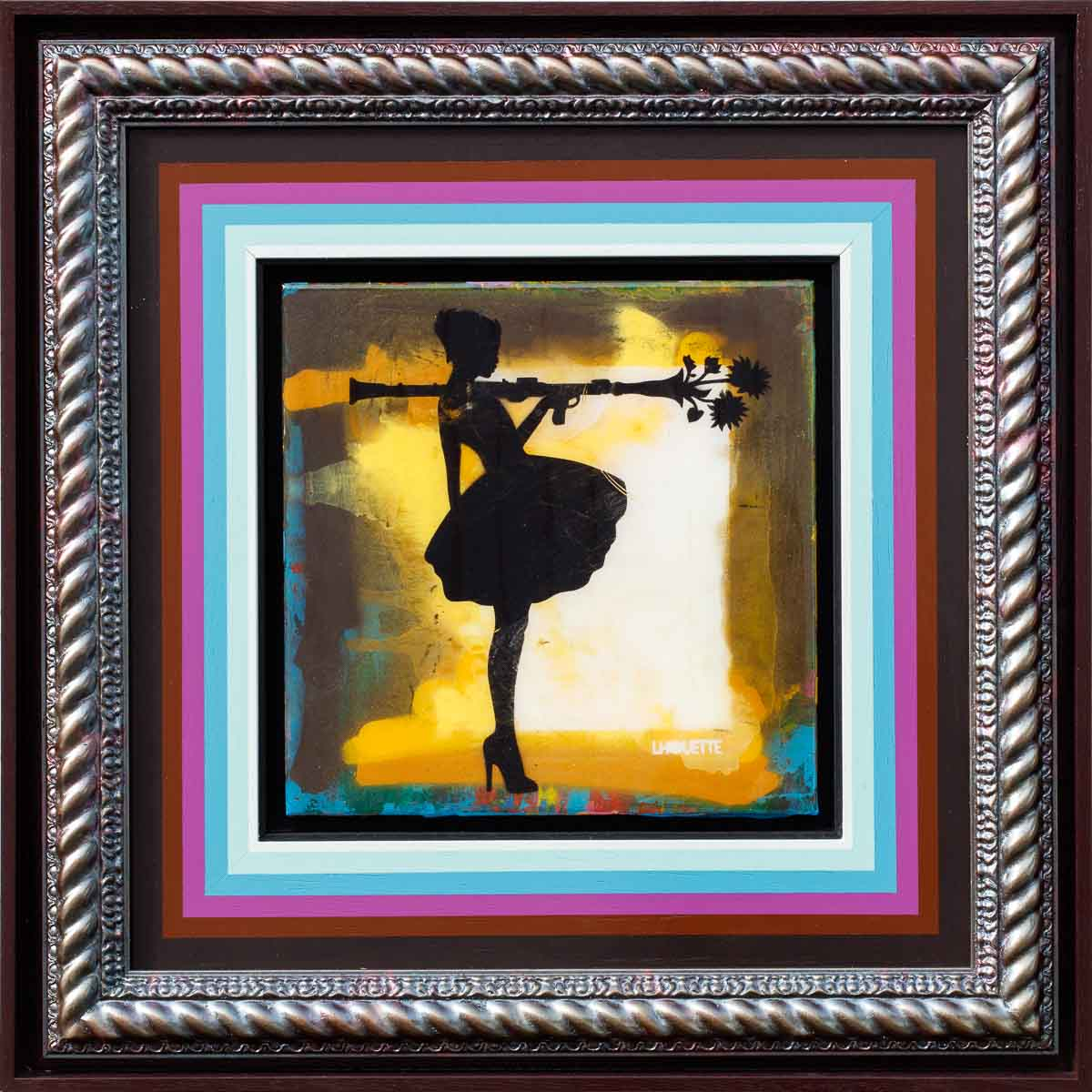 Bazooka Jo Floral Mixer (Golden Yellow) - Original Lhouette Framed