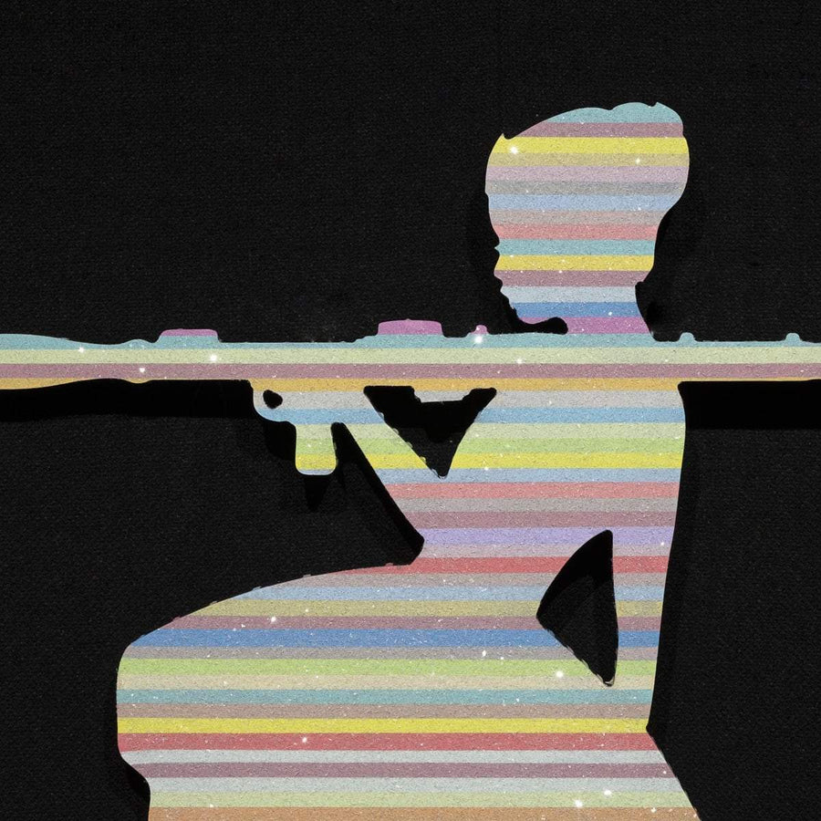 Bazooka Jo Miniature - Pastel with Diamond Dust - Original Wall Sculpture Lhouette Original