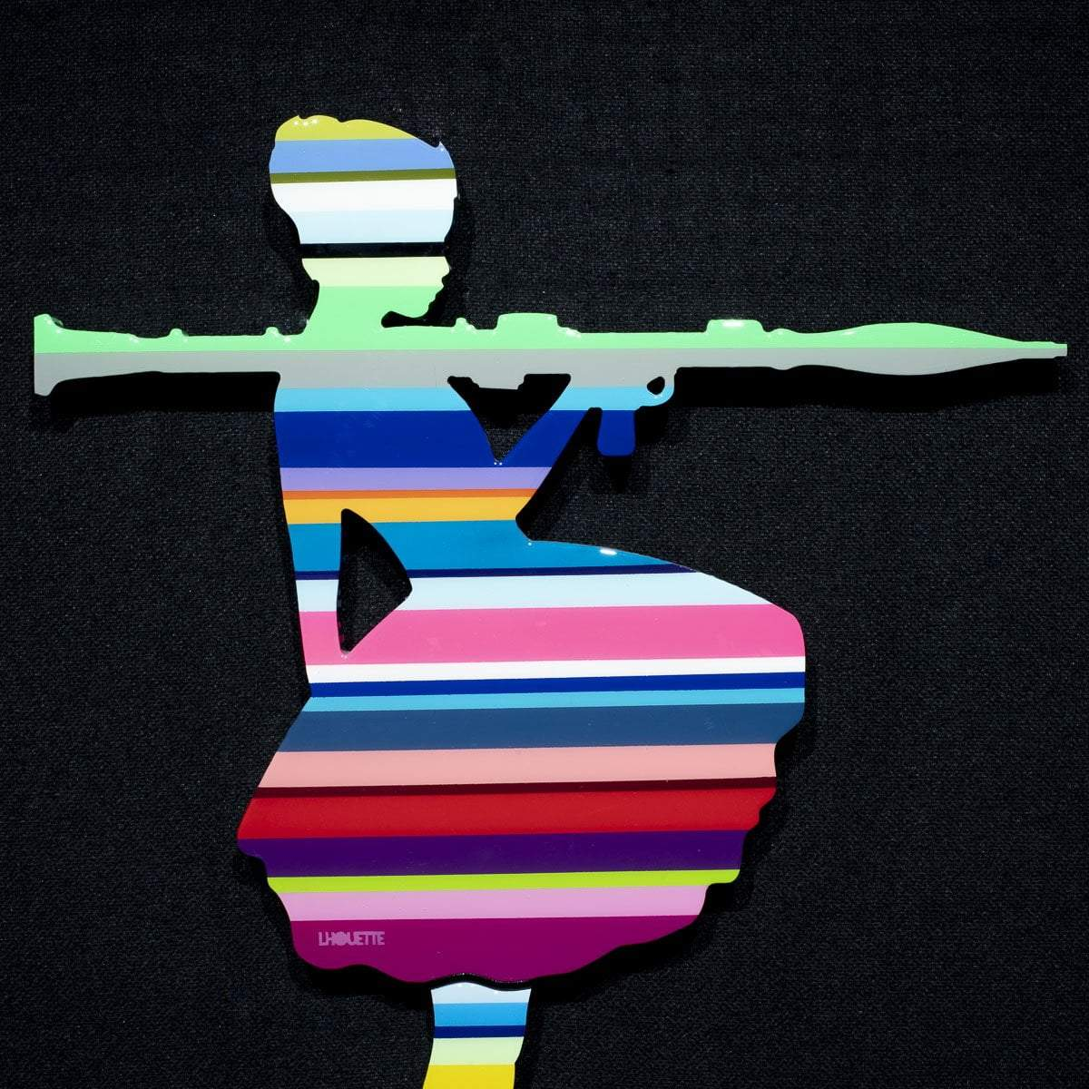 Bazooka Jo Miniature - Striped - Original Wall Sculpture Lhouette Original