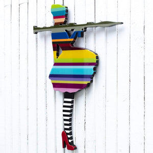 Bazooka Jo Miniature Striped Tights  - Original Wall Sculpture Lhouette Original