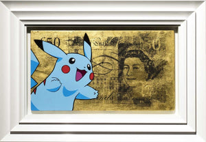Gold Sterling Pikachu Blue Lhouette