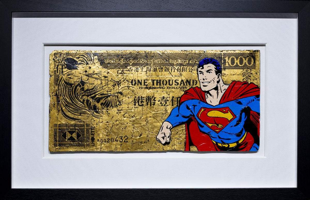 Hong Kong Dollar - Super Man Original Lhouette Framed