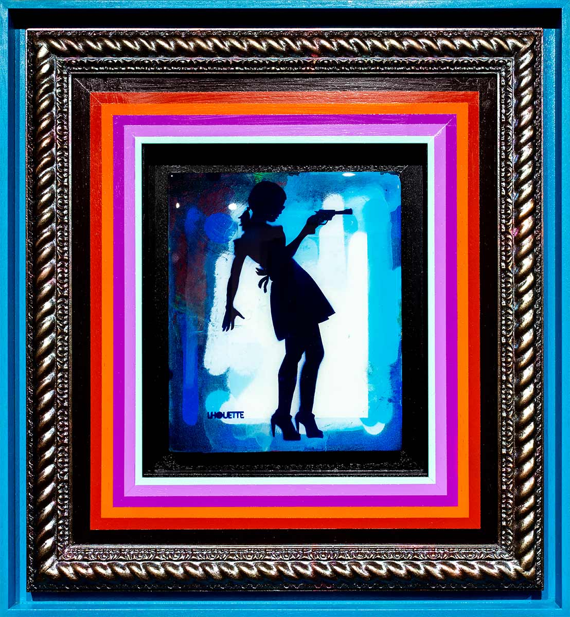 Little Miss Sunshine Mixer Signal Blue Lhouette Framed