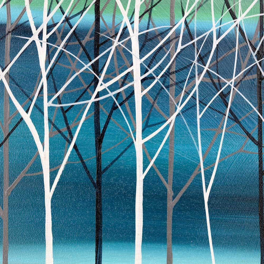 Trees on Thalo - Turqouise - Original Mary Johnston Original