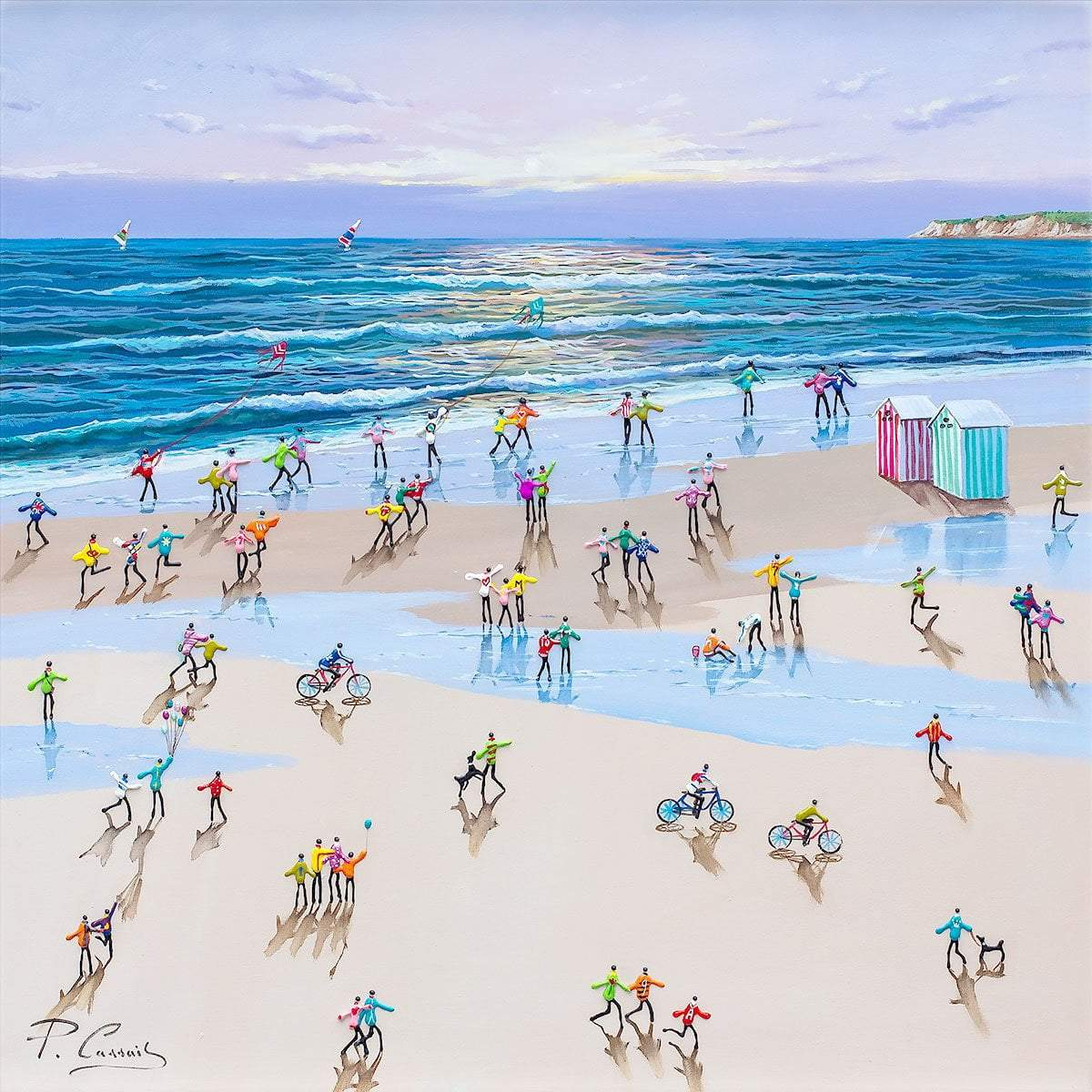 Beach Huts and Bicycles - Original