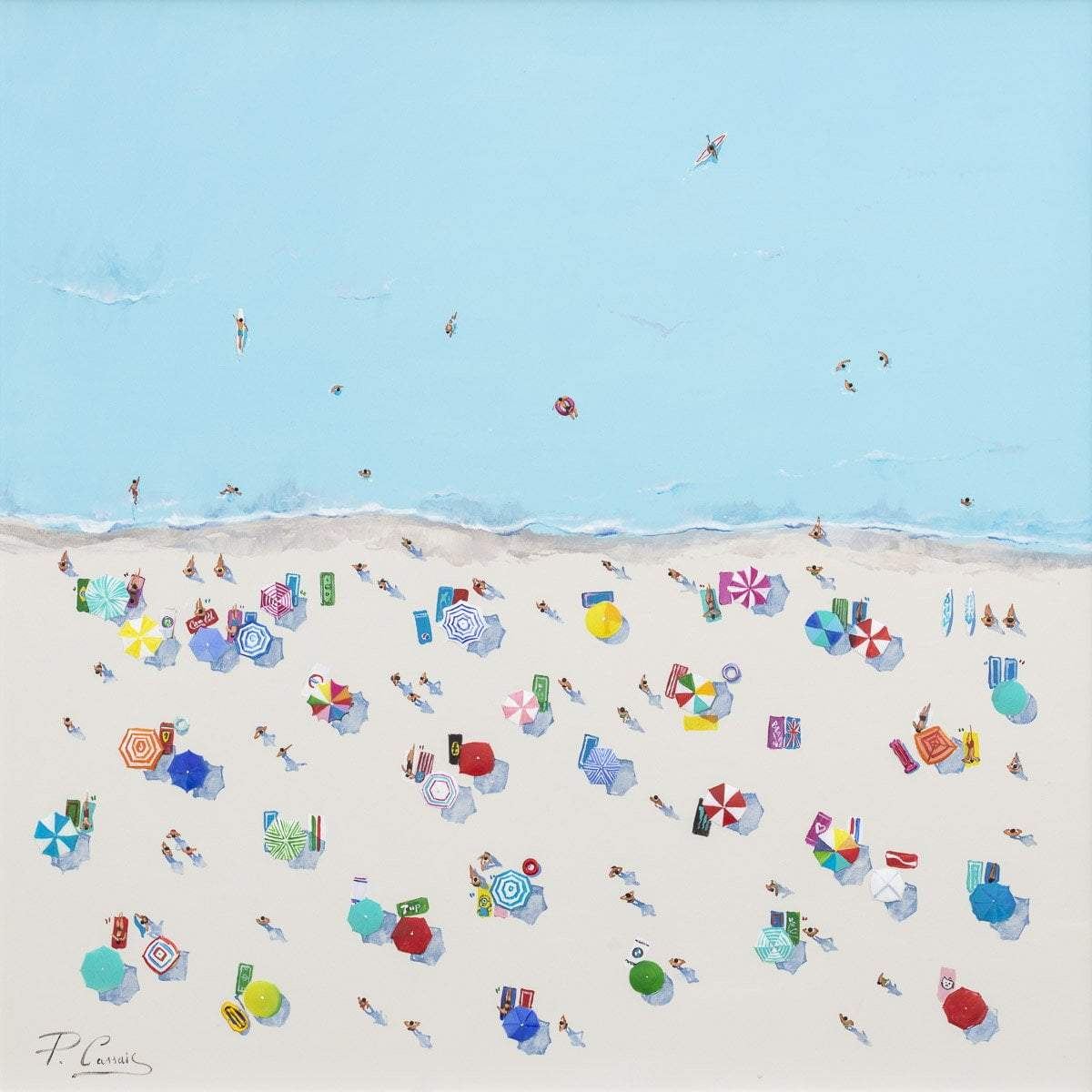 Beachfront Fun - Original Paola Cassais Framed