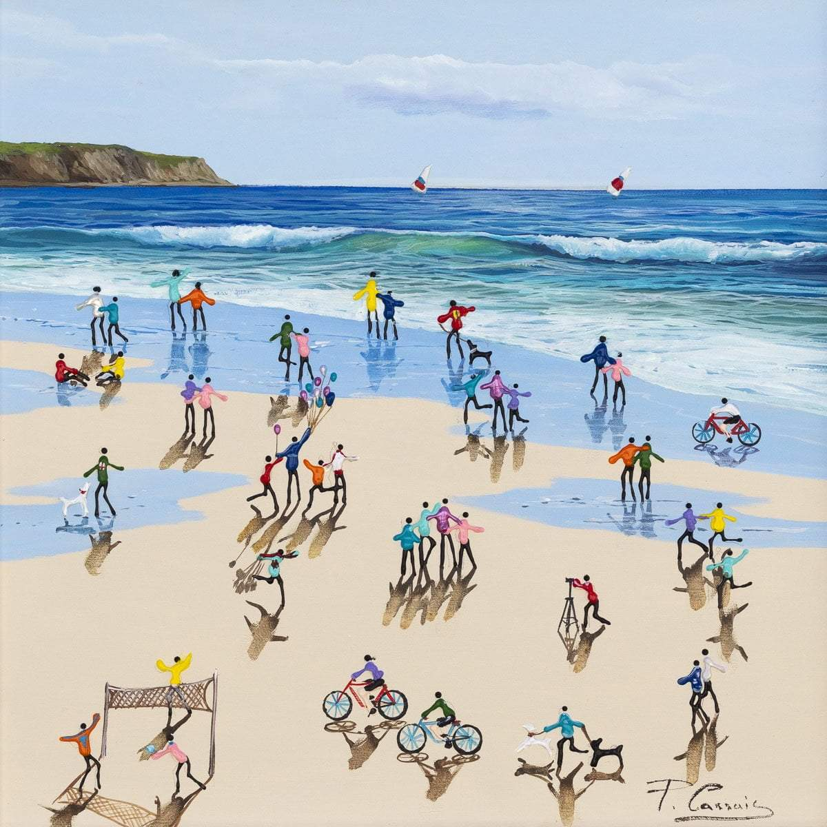 Party on the Beach - Original Paola Cassais Framed