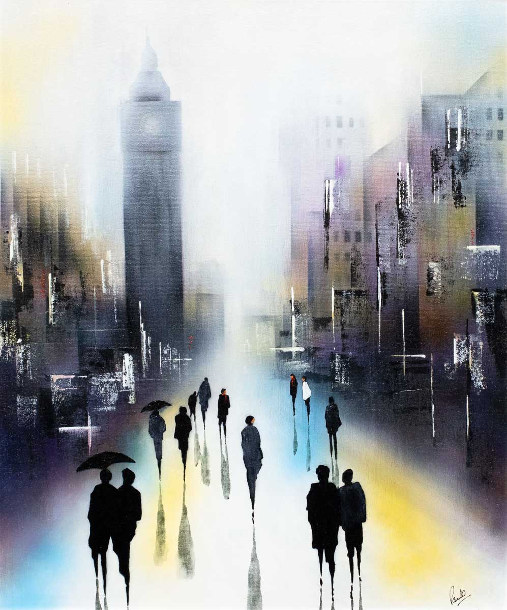 Rain At Big Ben - Original Paul Oughton Framed