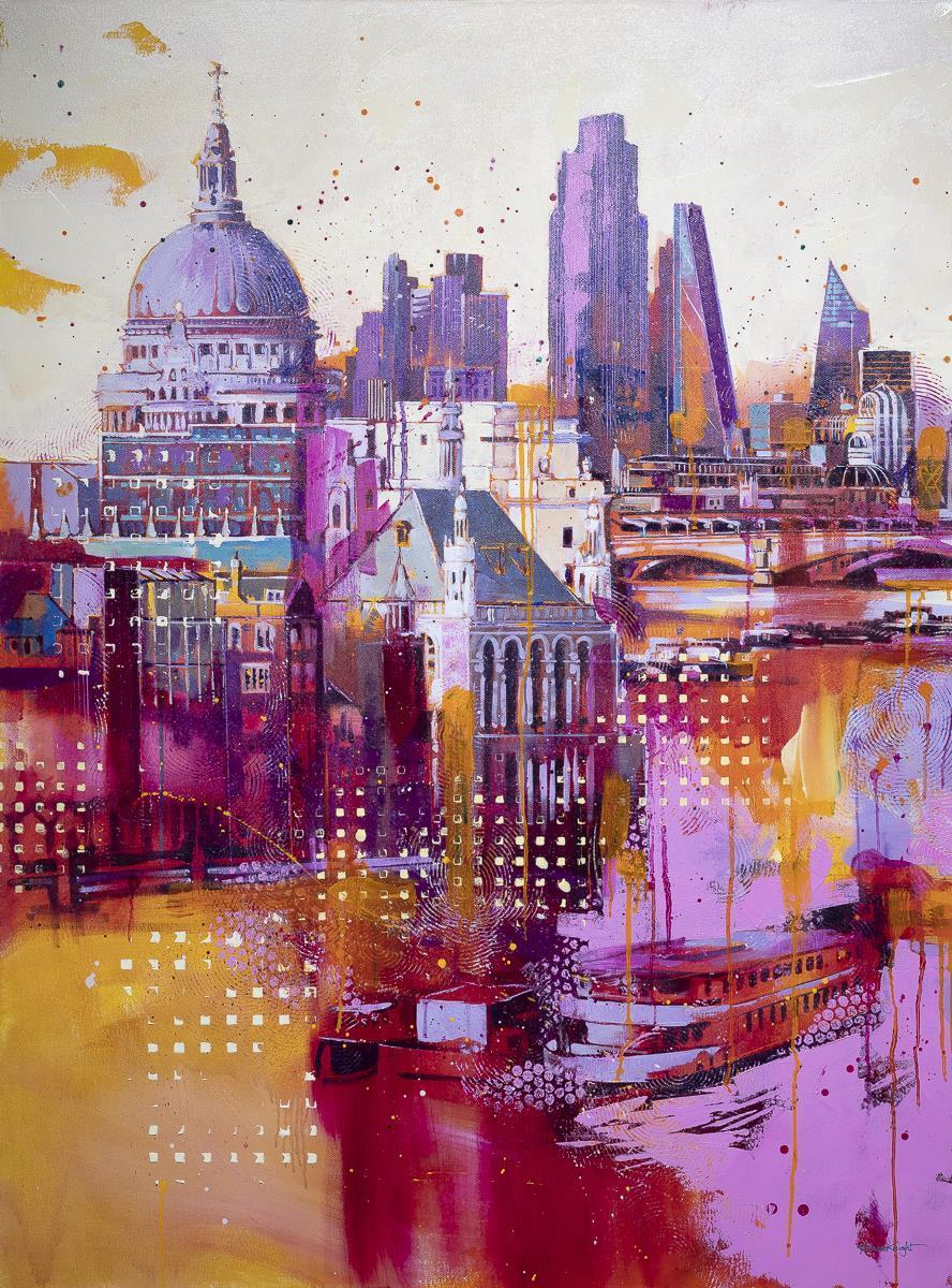 City In Pink Richard Knight Framed