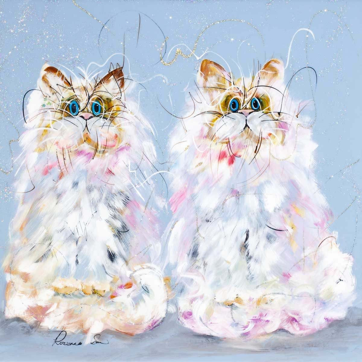 A Purrfect Pair - Original Rozanne Bell Framed