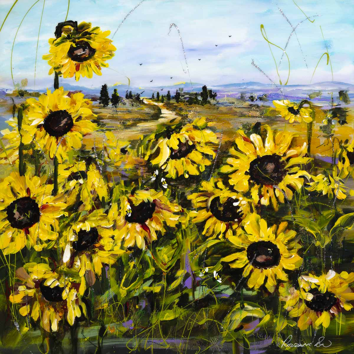 Display of Sunflowers Rozanne Bell Framed